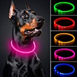 BSEEN LED Dog Collar - Cuttable Water Resistant Glowing Dog Collar Light Up, USB Rechargeable Pet Necklace Loop for Small, Me