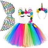 QPANCY Girls Unicorn Dresses Princess Pageant Ruffle Tutu Outfits Party Costumes