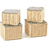 EZOWare Set of 4 Paper Rope Woven Tidy Storage Baskets with Lid, Braided Multipurpose Organiser Boxes Perfect for Storing Sma
