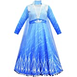 BIBIHOU Fancy Elsa 2 Costume Kids Dress Princess Robe Birthday Carnaval Party Stage Show Dress Up with Long Cloak