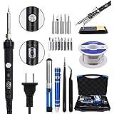 Soldering Iron Kit Electronics, JayLene 60W Adjustable Temperature Welding Tool, 5pcs Soldering Tips, Desoldering Pump, Solde