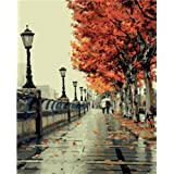 Colour Talk DIY Oil Painting, Paint by Number Kit- Romantic Love Autumn 16 * 20 Inch.