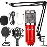 ZINGYOU Condenser Microphone Bundle, BM-800 PC Microphone Professional Cardioid Studio Mic Set with Mic Suspension Scissor Ar
