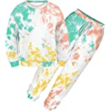 Ancia Women's Thick Sweatsuit Set 2 Piece Tie Dye Print Pullover Sweatshirt and Sweatpants Loungewear Outfits Sets