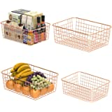 Wire Storage Basket, F-color 4 Pack Metal Household Storage Organizer Bin with 4 Built-in Handles for Pantry, Shelf, Freezer,