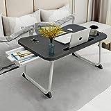 BFLYINGローテーブル 折りたたみテーブル 折り畳みテーブルパソコンデスク座卓 ベッドテーブル 凹溝付き ラップトッ…