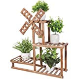 UNHO Multi-Tiered Plant Stand, Indoor Wood Plant Stand Flower Pot Holder Shelf Rack Outdoor Planter Display Stand Garden Shel