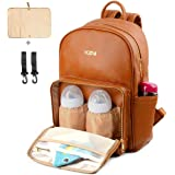 KZNI Leather Diaper Bag Backpack Nappy Bag Baby Bags for Mom Unisex Maternity Diaper Bag with Stroller Hanger|Thermal Pockets