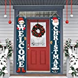 Dazonge Christmas Decorations | Welcome & Christmas Sign for Front Door/Porch Decor | New Year Christmas Winter Party Supplie