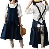 losofar Women Girls Vintage Cute Apron Gardening Works Cross Back Cotton/Linen Blend Aprons Plus Size Pinafore Dress with Two