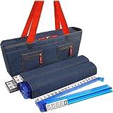 New! - American Mah Jongg Set by Linda Li - 166 Premium White Tiles, 4 All-in-One Rack/Pushers, Denim Blue Soft Bag - Stylish