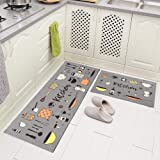 "Carvapet 2 Piece Microfiber Non-Slip Kitchen Mat Rubber Backing Doormat Runner Rug Set 17""x48""+17""x24"" Kitchen(Grey)"