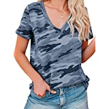 Women's V-Neck Tops Summer Short Sleeve Casual T-Shirt Loose Blouse Pullover Tunic Tee Shirts