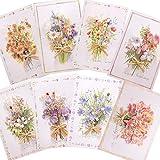 moin moin メッセージ カード サンキュー ありがとう 誕生日バースデー グリーディング | 高級感 ドライフラワー リボン | 立体 3D リボン 箔押し ゴールド | 花束 花 | ひまわり すみれ ガーベラ | カード+中紙 8種セット