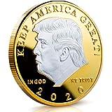 アメリカ大統領ドナルドトランプ2020トーンゴールドヘッドコインシルバーメッキ記念コインアメリカを偉大な挑戦コインコインノベルティコイン政治ギフト