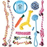 Dog Rope Toys for Aggressive Chewers - Set of 11 Nearly Indestructible Dog Toys - Bonus Giraffe Rope Toy - Benefits NONPROFIT