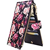 Wallets for Women Rose Flowers Floral Wallet Multi Card Organizer Bifold Wallet with Zipper Pocket,Black