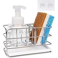 HULISEN キッチンスポンジホルダー 洗剤 スポンジ 置き ステンレス製 可動式仕切り付き 水受けトレーを取外し可能…