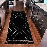 Uphome Cotton Area Rug Boho Hand-Woven Runner Rug Black and White Geometric Throw Rugs Chic Diamond Tribal Floor Mats Washabl