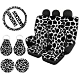 WELLFLYHOM Cow Print Car Seat Cover Protector Front & Rear Seat Cover SUV Car Full Set 11-pcs with Steering Wheel Cover + Sea