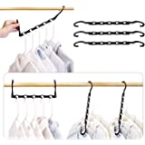 HOUSE DAY 10 Pcs Magic Hangers Closet Space Saving Multifunction Wardrobe Clothing Hanger Oragnizer 15 inch Black