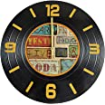 LOHAS Home 12 Inch Round Wall Clock Silent Non-Ticking Wooden Clock Vinyl Record Cd Style Classic Vintage Home Decor Clock (V