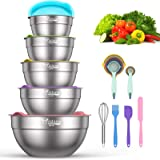 Mixing Bowls with Airtight Lids - 19 Piece Stainless Steel Nesting Bowls Set by Wildone, Colorful BPA Free Lids & Extra Deep,
