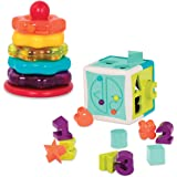 Battat – Stacking Rings + Shape Sorter Cube Bundle – Learning Toys for Kids Age 1 & Up (20 Pc) (BT2631Z)