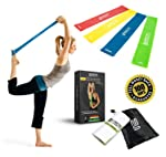 Superior Resistance Bands - Set of 4 Exercise Fitness Loops - Suitable for Men and Women - Ideal for Mobility Yoga...