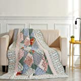 VIVILINEN Quilted Throw Blanket 100% Cotton Reversible Vintage Floral Patchwork Bedspreads Coverlets Throws Quilt for Couch S