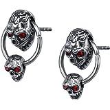 Unique Double Skull Dangle with Hoop Stainless Steel Crystal Earring Studs Gothic Biker Drop Earrings Men