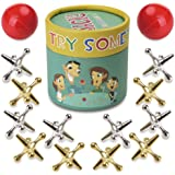 TriMagic Jacks Game with Balls for Kids and Adult, Funny Vintage Party Toy Games, Include 12 Gold & Silver Metal Jacks and 2