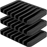 3 Pcs Soap Dish Holder Stand Saver Tray Case for Shower-Silicone Rubber Drainer Dishes for Bar Soap Sponge Scrubber Bathroom