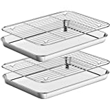 Baking Sheet with Rack Set [2 Pans + 2 Racks ] HKJ Chef Stainless Steel Cookie Sheet Baking Pan Tray with Cooling Rack, Size