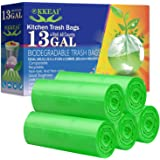 OKKEAI Biodegradable Trash Bags 13 Gallon/49.2 Liter,0.98 Mil Thicken Tall Kitchen Garbags Recycling Trash Bags for Lawn Kitc