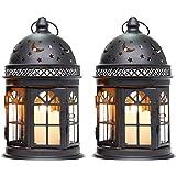 JHY DESIGN 2つ個セットキャンドルホルダー 21cmランタンライト 复古スタイル用ティーライトホルダー ガーデン テラス ベランダ 屋外 屋内 照明 ランタンスタンド コーヒーショップテーブルホーム飾 ハロウィーン(ブラック)