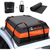XBEEK Car Roof Bag Rooftop Cargo Carrier Waterproof 15 Cubic feet Car Top Carrier for All Cars with/Without Rack, Includes An