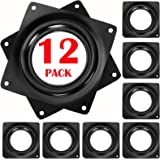 12 Pieces 4 Inch Square Lazy Susan Turntable Bearing, Black Lazy Susan Bearings Rotating Tray Bearing Plate for DIY Project
