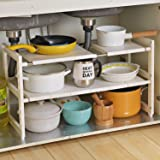 Expandable Under Sink Organizer - 2 Tier Multifunctional Storage Rack with Removable Shelves and Steel Pipes for Kitchen, Bat