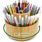 Bamboo Pen Holder, 7 Sections, Hold 350+ Pencils, School Supplies Organizer for Pen, Colored Pencil, Art Brushes, Desktop Sto
