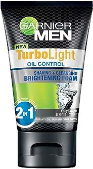 Garnier Men Turbo Light Oil Control Shaving and Cleansing Brightening Foam, 100 ml