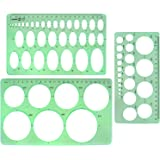 BronaGrand 3pcs Circle Stencils Oval Stationery Template Plastic Measuring Templates Geometric Rulers Set for Drafting, Drawi