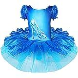 FEESHOW Girls' Crystal Shoes Print Leotard Ballet Tutu Dance Dress Party Costume