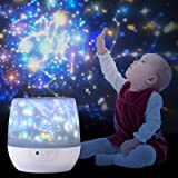 Night Light Projector for Kids, with 12 Films of Early Education, Lupantte 360 Rotating Star Galaxy Light Projector for Baby'