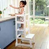 Adjustable Height Kitchen Helper Step Stool for Kids and Toddlers Children Standing Learning Tower for Kitchen Counter, Mothe