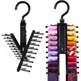 IPOW Upgraded 2 PCS See Everything Cross X 20 Tie Rack Holder,Rotate to Open/Close Tie and Belt Hanger With Non-Slip Clips,36