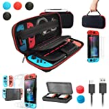 Nintendo Switch Case with Switch Accessory Set [Storage Case + Ultra-Thin Body Cover + 2 Tempered Glass Film + Joy-Con Exclus