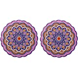Arly Housewarming Gift from Friend,Stone Adorn Purple Trivet for Teapot/Hot Pot Holders,Bright and Colorful,Round 7.7 Inch Se