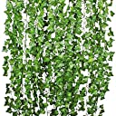 Coolcraft 観葉植物 アイビー 壁掛け インテリア アンティーク 雑貨 造花 人工 フェイク 壁掛 グリーン 緑 植物 吊り (12本)