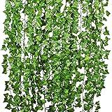 Artificial Ivy Leaf Garland Plants - 84 Ft 12 Pack Vine Hanging Wedding Garland Fake Foliage Flowers Home Kitchen Garden Office Wedding Wall Decor